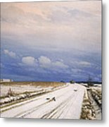A Winter Landscape With A Horse And Cart Metal Print