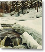 A Winter Landscape With A Mountain Torrent Metal Print