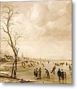 A Winter Landscape With Townsfolk Skating And Playing Kolf On A Frozen River Metal Print by Aert van der Neer