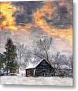 A Winter Sky Paint Version Metal Print