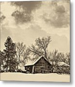A Winter Sky Sepia Metal Print