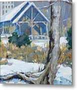 A Winter Walk In The Park Metal Print
