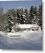 A Wintery Look Up A Driveway On Conifer Drive Metal Print