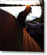 A Woman Exits The Tent At Sunset Metal Print