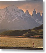 A Woman Explorer, Runs The Shores Metal Print