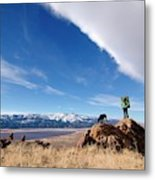 A Woman Hiking With Her Dog Metal Print