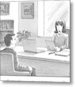 A Woman Interviewing A Man Reads His Resume Metal Print