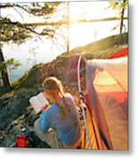 A Woman Is Resting In A Tent On One Metal Print