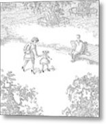 A Woman Is Seen Guiding Her Daughter Metal Print