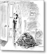 A Woman Is Seen Standing In A Bedroom Next Metal Print