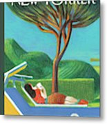 A Woman Lays Outside Under A Tree Reading A Book Metal Print