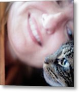 A Woman Lovingly Looking At Her Cat Metal Print