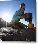 A Woman Making Coffee With Portable Metal Print