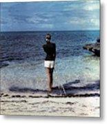 A Woman On A Beach Metal Print