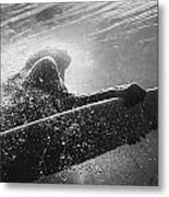 A Woman On A Surfboard Under The Water Metal Print