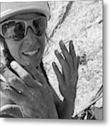 A Woman Rock Climber In Titcomb Basin Metal Print