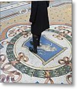 A Woman Rubs Her Heel For Good Luck On The Crest Of The Bull In Galleria Vittorio Emanuele II  Metal Print