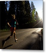 A Woman Running On A Country Road Metal Print