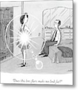 A Woman Shows Her Husband A Shining Lens Flare Metal Print