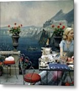 A Woman Sitting At A Dining Table In Front Metal Print