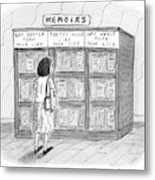 A Woman Stands In Front Of A Bookshelf Of Memoirs Metal Print