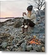 A Woman Takes A Cell Phone Picture Metal Print