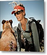 A Woman  Talks To Her Dog While Taking Metal Print