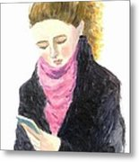 A Woman Texting W Cell Phone Metal Print