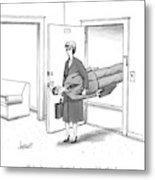 A Woman Walks Through A Door Carrying A Man Metal Print