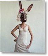A Woman Wearing A Rabbit Mask Metal Print