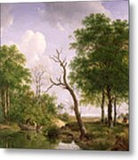 A Wooded River Landscape With Sportsmen In A Rowing Boat Metal Print