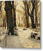 A Wooded Winter Landscape With Deer Metal Print by Peder Monsted