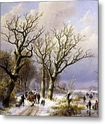 A Wooded Winter Landscape With Figures Metal Print