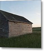 A Wooden Shed In The Middle Of A Grass Metal Print