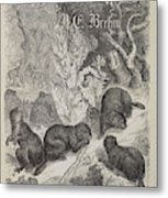 A Woodland Scene With German Lettering Metal Print