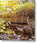 A Woodsy Walk In Golden Fall Color Metal Print
