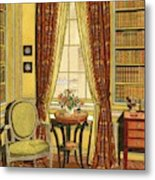 A Yellow Library With A Vase Of Flowers Metal Print