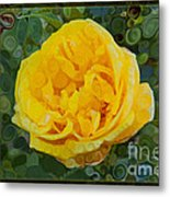 A Yellow Rose Abstract Painting Metal Print
