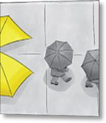 A Yellow Umbrella With A Pacman Mouth Metal Print
