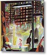 A Young Boy Admires A Saxophone Metal Print