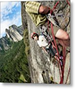 A Young Boy And Climbers In Yosemite Metal Print