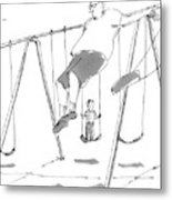 A Young Boy On A Swingset To His Father Metal Print