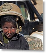 A Young Boy Wears A Coalition Force Metal Print