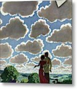 A Young Couple And Their Dogs On A Hilltop Metal Print