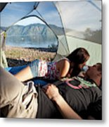 A Young Couple Camping Talk Metal Print