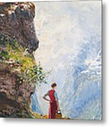 A Young Girl By A Fjord Metal Print