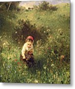 A Young Girl In A Field Metal Print