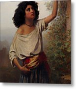 A Young Gypsy Woman With Tambourine  Metal Print
