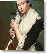 A Young Lady With Two Dogs Metal Print