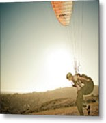 A Young Man Launches His Paraglider Metal Print
